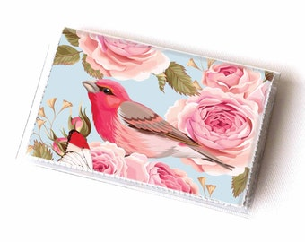 Vinyl Card Holder - Vintage Roses 1 / roses, floral, bird, flowers, card case, vinyl wallet, women's, small wallet, pretty, gift, pretty