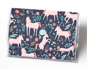 Handmade Vinyl Accordion Wallet - Unicorn Forest / magical, floral, pink, small wallet, snap, cute, card case, vinyl wallet, women's wallet