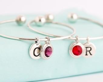 Sterling Silver Charm Bracelet - Birthstone Initial Bangle - Modern Bracelet - Simple Bracelet - Bangle Bracelet