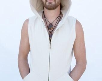 Pacha PLay Off White Lotrix Mens Vest with pockets-techno-tribal-ninja-psytrance-steampunk-burning man-festival-urban jedi