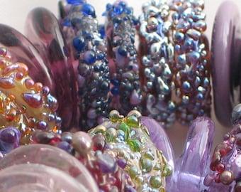 """Handmade Glass Lampwork disc disk Beads """"Shades of Purple"""" filler focal glass art"""