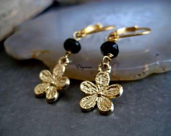 Dainty black Briolette earrings-gold Flower Earrings 14k gold filled-black bazel drop earrings-wedding Gold frame gemstone earrings-Bride