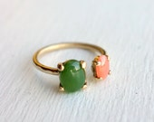 Solid 14k Yellow Gold Dual Ring with Jade and Peach Coral