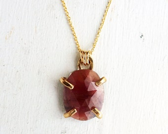 Ruby and 14k Gold Filled Prong Pendant- Handmade Natural Rose Cut Ruby Necklace