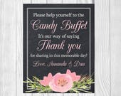 Custom Please Help Yourself 8x10 Printed Chalkboard Wedding Candy Buffet Sign with Pink Watercolor Flower - RESERVED FOR AMANDA