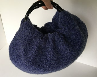 Christmas Ugly Sweater Purse - Handmade Periwinkle Handbag with Black Bamboo Handles - Ready to Ship for Christmas