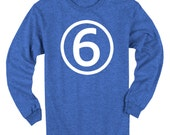 Sixth Birthday Long Sleeve Heather Royal Blue Kids T-Shirt