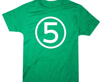 Kids CIRCLE Fifth Birthday Shirt - Kelly Green - 5th Birthday Shirt