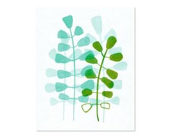 Aqua Green Leaves watercolor painting  botanical fine art print - Aqua Green Leaves