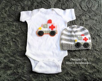 Ambulance inspired Baby Hat and Bodysuit Set,  Ambulance nursery, photoprop, ambulance baby shower gift, EMT inspired baby apparel outfit