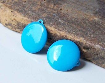 MARCH MADNESS SALE Reduced Bright Blue Enamel, Enamel Dot Earrings, Clip On Earrings, 80s Earrings, 1980s Earrings, Vintage Enamel Earrings