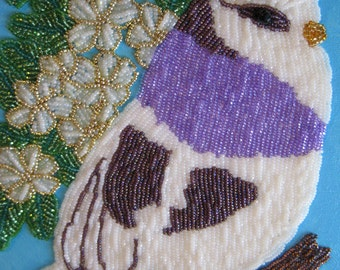 Wall Art, Bead embroidered picture, my Purple Bird