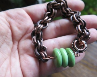 Chunky Antique Copper Chain Bracelet - Green Chrysoprase - Crystal Vibes Free Spirited Jewelry - Funky Bohemian Gypsy - Toggle Gift for Her