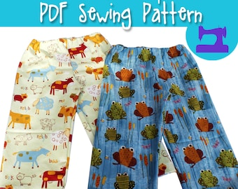 PDF SEWING PATTERN - Almost One Size Truly Scrumptious Pant Sewing Pattern - bloomers pattern, pajamas pattern, toddler pattern, ruffles