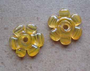 Lampwork Beads - SueBeads - Disc Beads - Disc Flowers - Mango Orange Cut Disc Flower Bead Pair - Handmade Lampwork Beads - SRA M67
