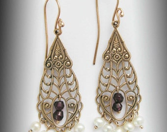 14k Rose gold Earrings, chandelier gold earrings,  bridal earrings, fresh water pearl earrings, boho garnet earrings - The temple EG0795