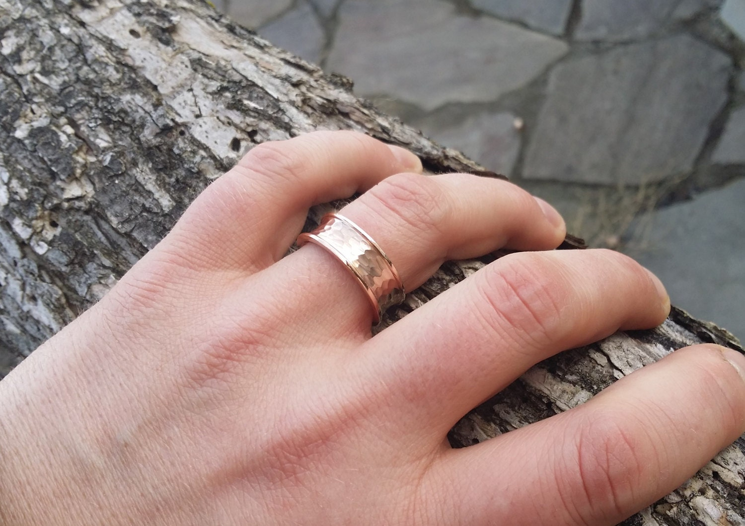 Rustic Mens Wedding Band Ring Textured Hammered Brushed comfort Fit ...