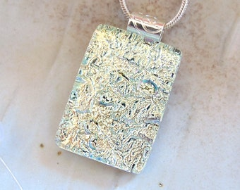 Pale Yellow Necklace, Dichroic Pendant, Glass Jewelry, Fused Glass, Necklace Included, A6