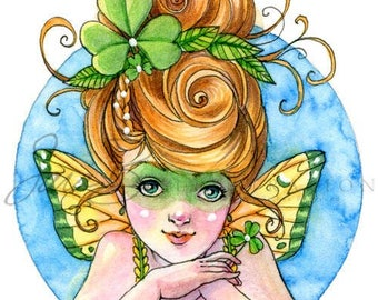 Irish Fairy Art Print - Shamrock Pixie