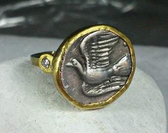 Gold Coin Ring, Statement Ring, Ancient Coin Jewelry, solid 18 kt yellow gold and diamond  ring, Dove coin ring