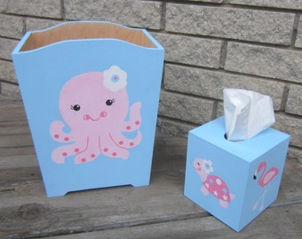 BEACH THEME Kids Wood Wastebasket & Tissue Box - Bathroom Decor - Original Hand Painted boy/Girl - Custom Design