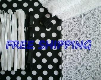 FREE Ship DIY Fabric + Notions Black & White Polka Dots for 1 BRA + Panty by Merckwaerdigh