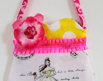 Belle purse, Beauty and the Beast purse, tween purse, girls purse, pom pom purse