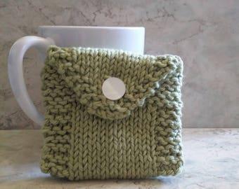 Tea Bag Tote, Tea Bag Wallet, Cotton Handknit, Sage Green Emerald Green Gift under 15