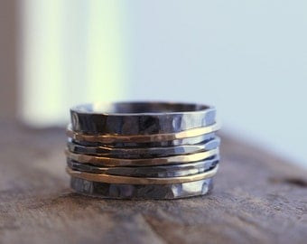 Rustic Sterling and Gold Spinner Ring Fiddle Ring Silver and Gold