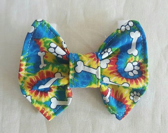 Dog Bow Tie, Tie Dye Paws and Bones, Bow Tie For Dogs, Dog Neckwear, Pet Supplies, Pet Accessories, Pet Clothing,Accessories & Shoes,Dogs