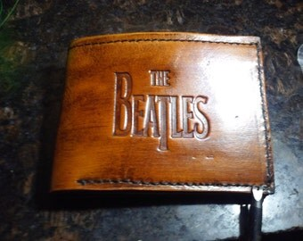 Handmade The Beatles Tooled Veg Tanned Leather Bi-Fold Wallet *Brown *FREE SHIP