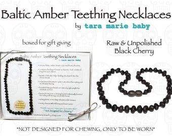 Raw & Unpolished BLACK Black Cherry Natural Baltic Amber Teething Necklace. 12.5in Safety-knotted with screw clasp. Gift Boxed