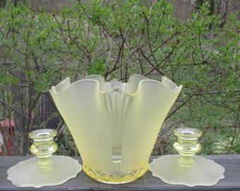 Vintage Yellow Bowl and Candle Holders - Frosted Yellow Glassware - Spring/ Summer Wedding