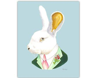 White Rabbit print 5x7