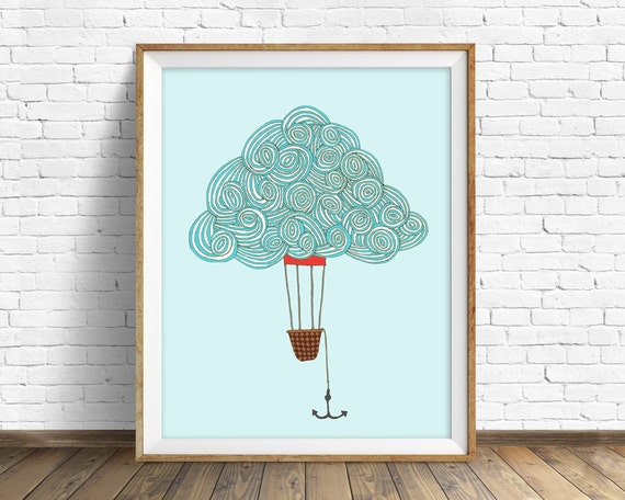 "drawing, hot air balloon, cloud drawing, cloud art, blue, modern, large wall art, minimalist art, print, home decor - ""Cloud Balloon No. 1"""