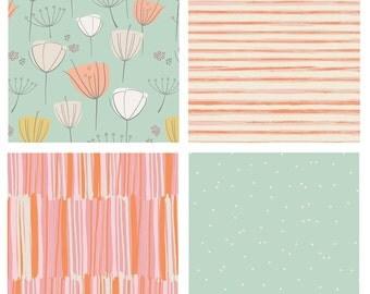 BUNDLE - Various Art Gallery Fabrics - Mint Pink Orange Peach White Flowers Nursery