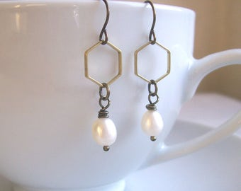 Honeycomb and Pearl hexagon earrings - golden brass geometric shapes - minimalist wedding jewellery