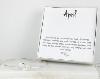 April Birthstone Sterling Silver Bangle , Crystal Sterling Silver Bracelet, Crystal Bracelet, April Birthday Jewelry