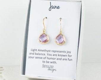 Tiny June Birthstone Earrings, Light Amethyst Gold Dangle Earrings, June Birthstone Gold Earrings, Birthstone Jewelry, Gold Earrings #807