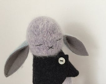 Dove Gray Blue Angora Bunny With Charcoal Sweater Cape