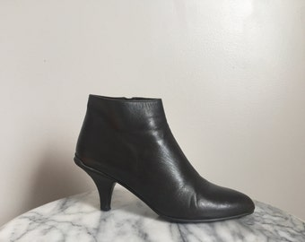 Dark Brown Leather Prada Ankle Boots. Size 8