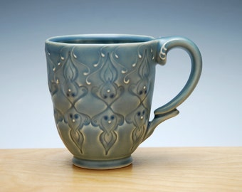 Cornflower blue mug w. Navy dots, Victorian Moroccan stamped mug
