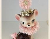 Christmas Decoration  Vintage Deer Pink  Christmas Shabby Chic Ornament Christmas Decor  TVAT