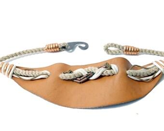 Vintage Rope and Brown Leather Belt// Comfort Waist Belt// Hippie Boho Belt// 134