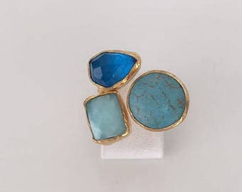 Triple Gold plated Blue topaz and turquoise ring