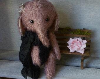 OOAK Handmade 5.5 inch Mohair Artist Teddy Elephant  Layla