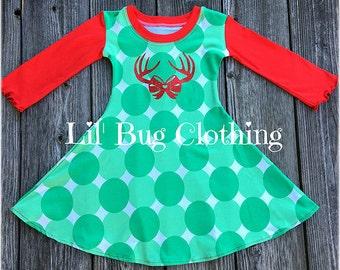 Reindeer Girl Dress, Christmas Green White Jumbo Dot Comfy Knit Dress, Christmas Holiday Comfy Knit Dress, Christmas Toddler Girl Dress,