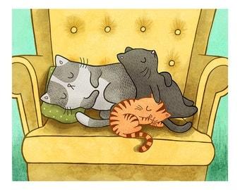 Sleeping Cats - Cat Wall Art Nursery Art Dorm Room Art Cat Illustration Gender Neutral Baby Nursery Cat Decor Cat Lover Art Cat Lady Cat Art