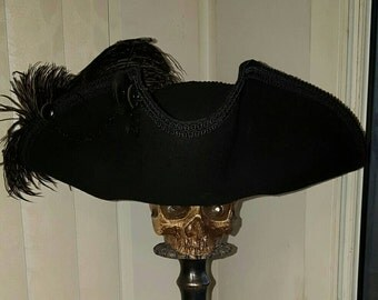 Black Pirate, Steampunk, Victorian, Marie Antoinette, Baroque, 18th century, Gothic tricorn