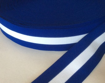Royal blue and white striped elastic, 2 inches wide